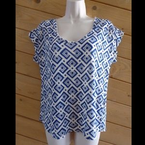 Lucky Brand S Blue Geometric Linen Blend Tee Shirt